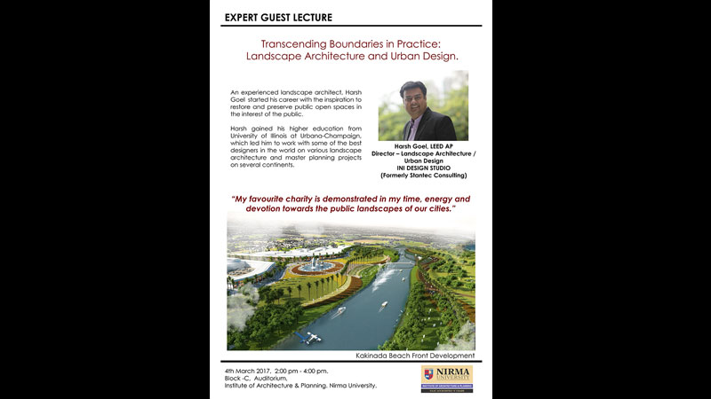 Guest Lecture by Harsh Goel at Institute of Architecture, Nirma University