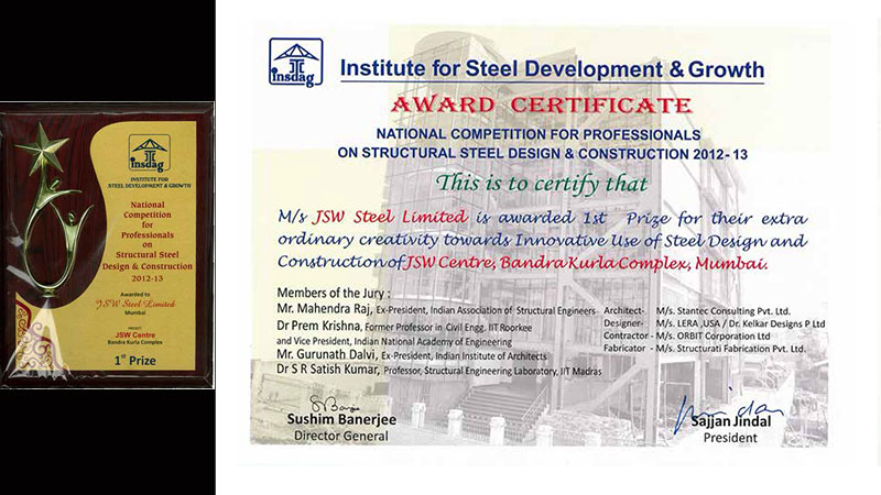 INSDAG Award for Innovative Use of Steel in Design and Construction, 2013